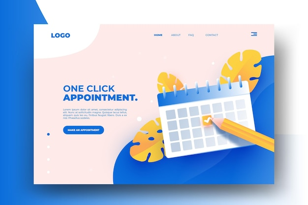 Appointment booking landing page design