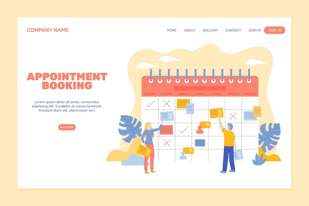 Appointment booking - landing page