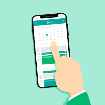 Appointment booking on mobile phone choosing a date
