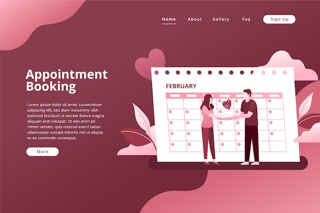Appointment booking for wedding landing page