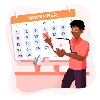 Назначение бронирования с календарем и мужчина держит ноутбук