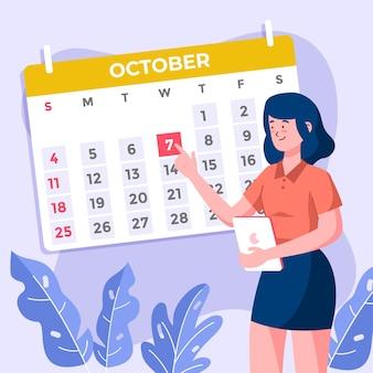 Назначение бронирования с календарем и женщина держит планшет