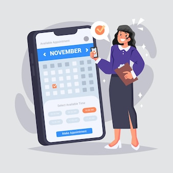 Appointment booking with calendar on smartphone