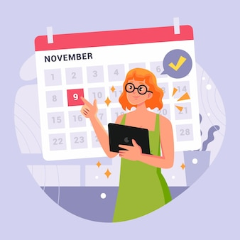 Appointment booking with calendar and woman