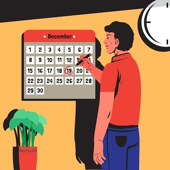Appointment booking with man and calendar