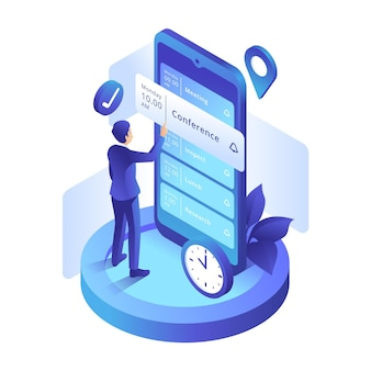 Appointment booking with man and smartphone