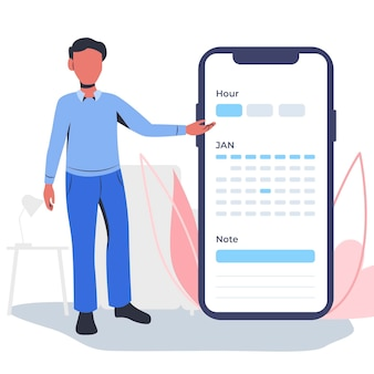 Appointment booking with smartphone and man