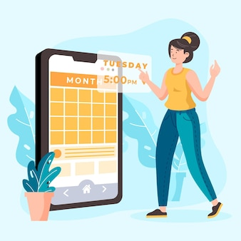 Appointment booking with smartphone and woman