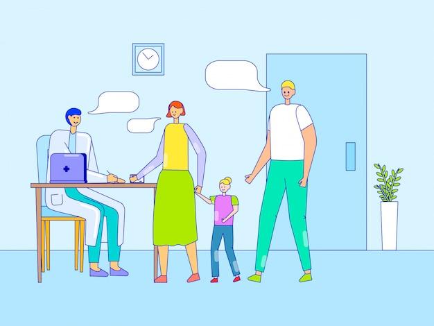 Назначение в офисе помощника врача, линия иллюстрации. семья у врача-терапевта, родители с дочерью.