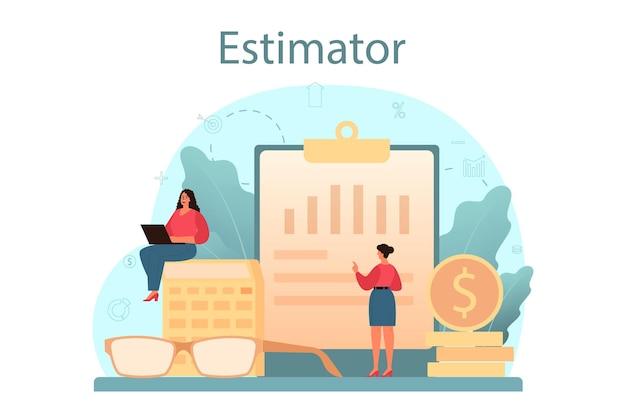 감정사, 재무 컨설턴트. 감정 서비스, 자산 평가, 판매 및 구매. 부동산 중개업자 또는 비즈니스 전문가.