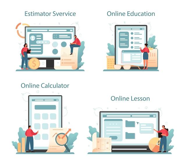 감정인, 금융 컨설턴트 온라인 서비스 또는 플랫폼 세트.