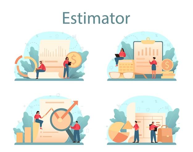 감정사, 금융 컨설턴트 세트. 감정 서비스, 자산 평가, 판매 및 구매.