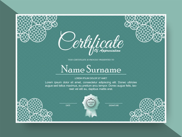 Appreciation certificate best award diploma