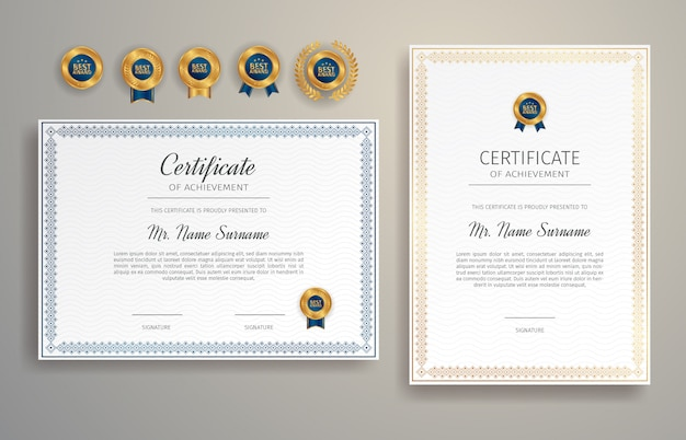 Appreciation certificate in blue and gold color with border template