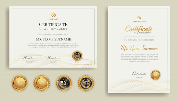 Appreciation certificate in gold color with border template