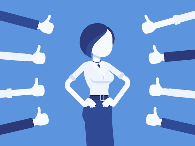 Approbation, commendation and praise, thumbs approving happy woman. hand gestures showing friendly respect, business recognition, well done, agreement symbol. vector illustration, faceless character