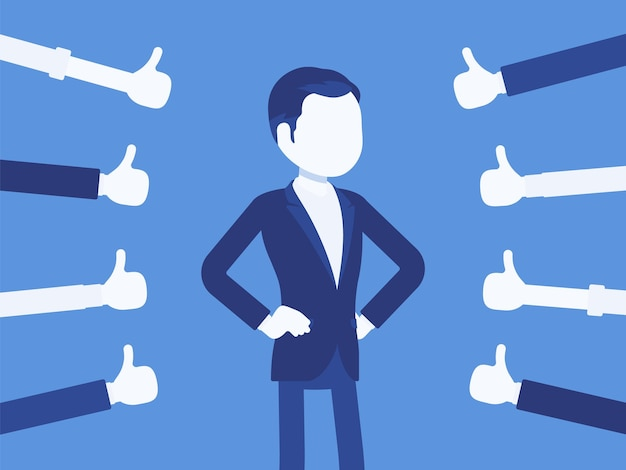 Approbation, commendation and praise, thumbs approving man. hand gestures showing friendly respect and business recognition, well done or agreement symbol. vector illustration, faceless character