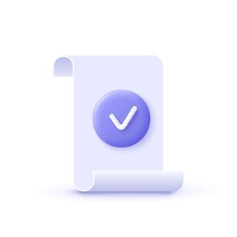 확인 표시 3d 벡터 일러스트와 함께 승인 아이콘 문서 공인 인증 기호