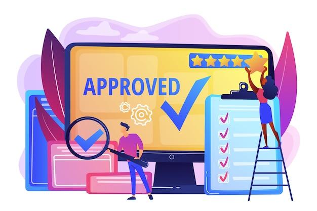 승인 마크. 제품 장점. 평가 및 리뷰. 요구 사항 충족. 고품질 표시, 품질 관리 표시, 품질 보증 표시 개념.