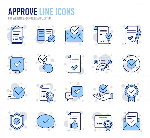 Approve line icons. set of check list, certificate and award medal.