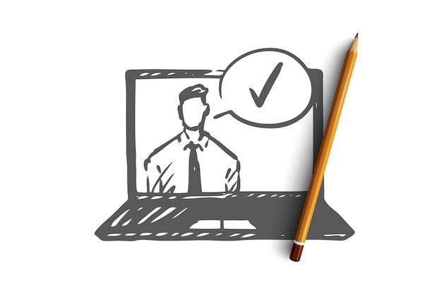 承認され、承認されたコンセプト。ノートパソコンと承認マークの画面上のビジネスマン。手描きスケッチイラスト