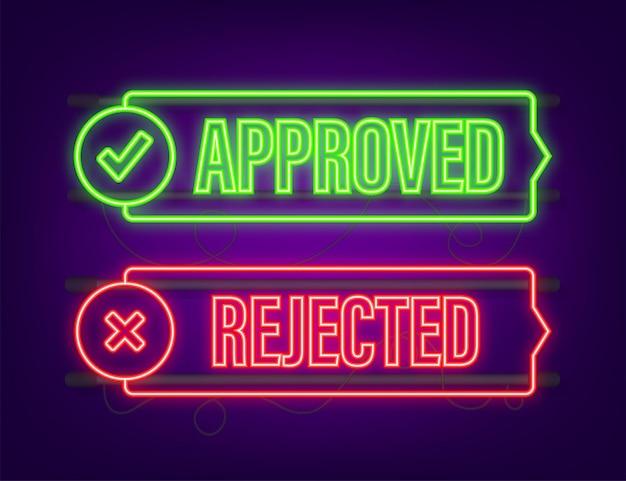 承認および却下されたラベルステッカーアイコン。ネオンアイコン。ベクトルストックイラスト。