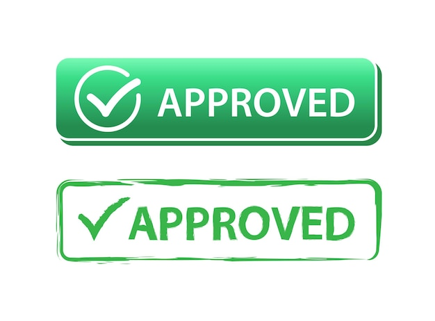 Approved button green check mark