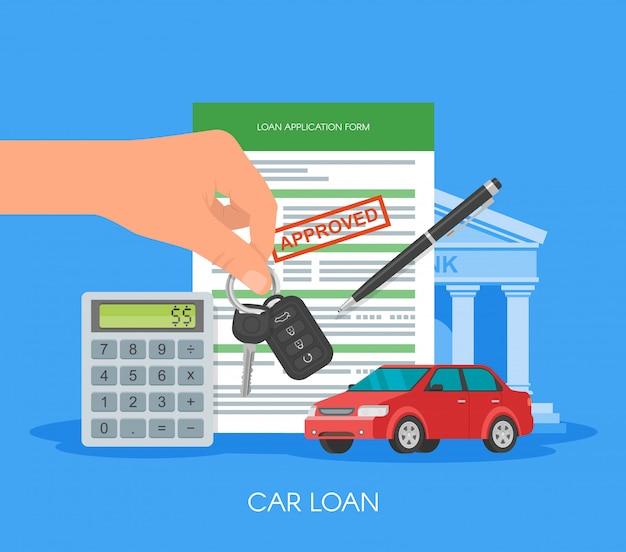 自動車ローンのイラストを承認しました。購入車のコンセプト。車のキーを持っている手。