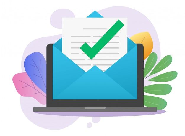 ラップトップコンピューターのpcでオンラインのメールレタードキュメントの承認済みデジタルメールメッセージ通知チェックマーク