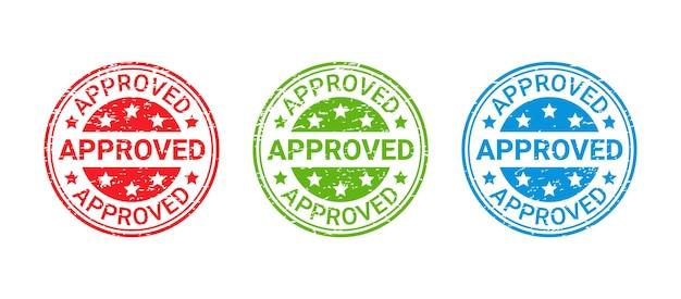 Утвержденная печать гранж. значок одобрения. принимается круглая чернильная наклейка. отпечаток ретро печати. простая иллюстрация