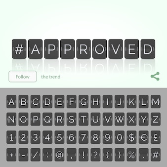 Approved hashtag by flat flip scoreboard alphabet with numbers and symbols