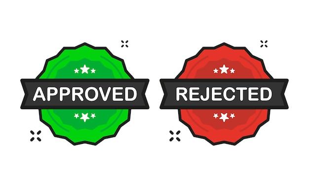 承認または却下されたバッジの緑と赤のスタンプアイコンが白地にフラットスタイルで表示されます。ベクトルイラスト。