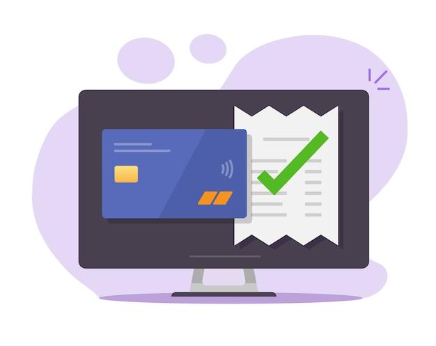 승인 된 결제 청구서는 데스크톱 컴퓨터에서 은행 신용 카드를 통해 확인 된 유효한 확인