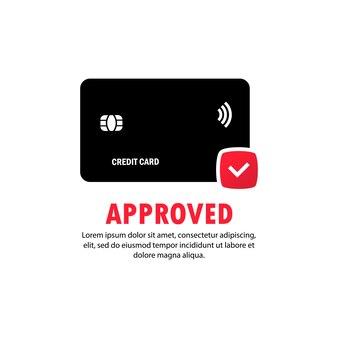 승인된 결제 신용 카드 아이콘입니다. 성공적인 은행 지불 거래의 개념입니다. 원 안에 체크 표시가 있는 카드 앞면. 격리 된 흰색 배경에 벡터입니다. eps 10.