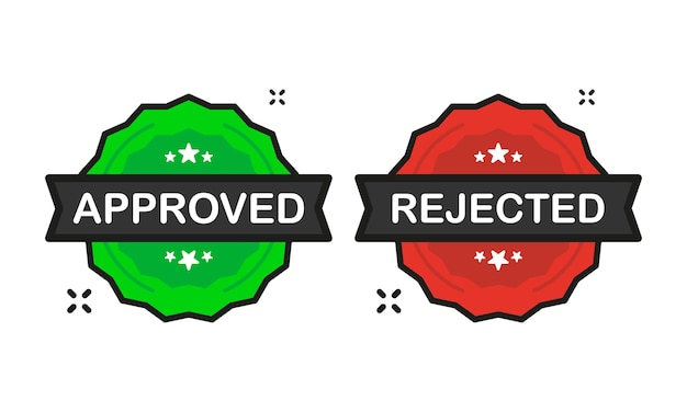 Approved or rejected badge green and red stamp icon in flat style on white background. vector illustration.