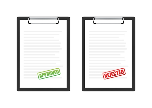 Approved and rejected rubber stamp on document, green and red color. vector illustration