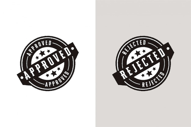 Approved and rejected set stamp label seal badge