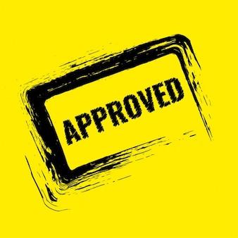 黄色の背景に承認された切手のデザイン