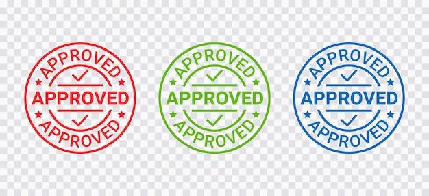 承認されたスタンプ。品質マークが承認します。承認許可バッジ、ラベル。承認された丸いステッカー