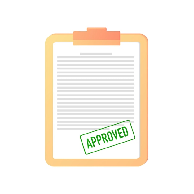 Approved stamp seal green confirmation of a document contract certificate web banner