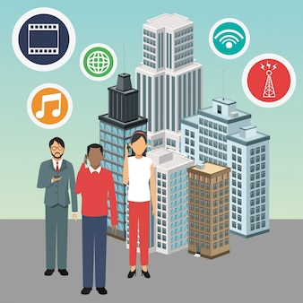 Apps avatars building smart city icon