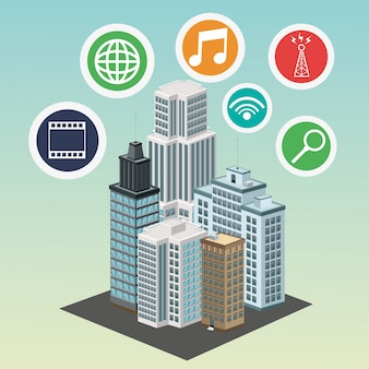 Apps building smart city icon