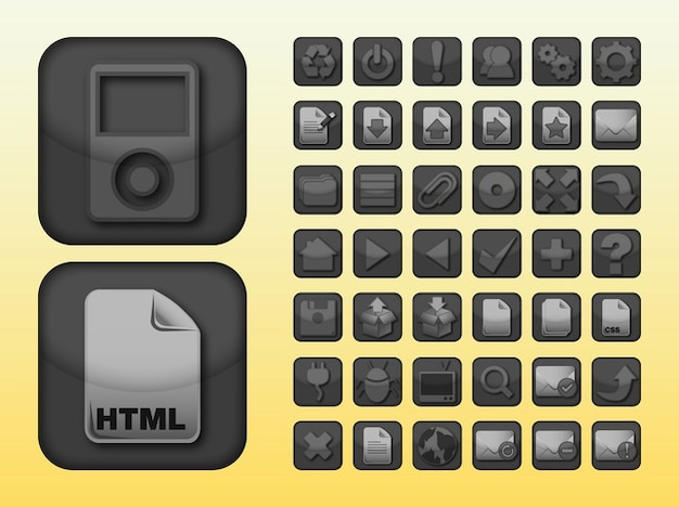 Apps cd attachment icons vector