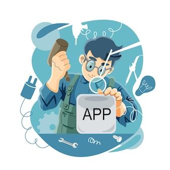 Apps development by programmer illustration