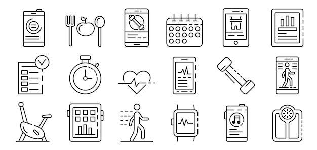 Apps for fitness icons set, outline style