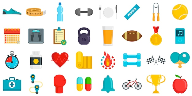 Apps for fitness icons set