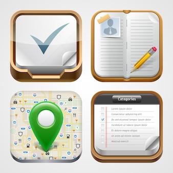 アプリアイコンセット。地図アイコン、リマインダー、ノートブック、チェックリスト。