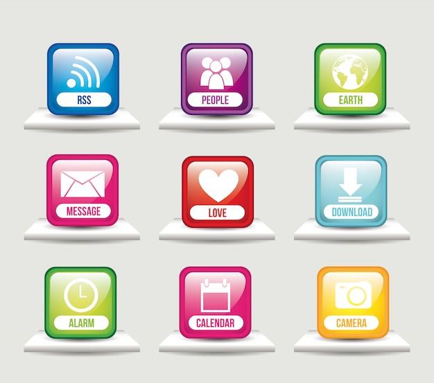 Apps over shelves app store vector illustration