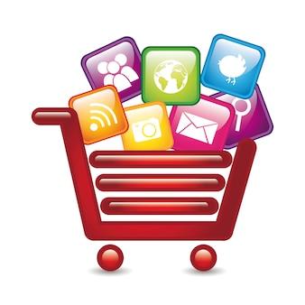 Apps over shopping cart app store vector illustration