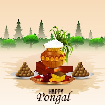 Appy pongal celebration background with creative illustration